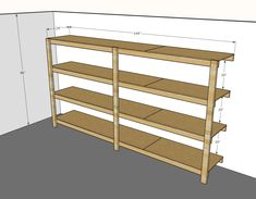 Best Diy Garage Shelves Attached To - Wooden Garage Shelving Plans Wooden Garage Shelves, Garage Shelving Plans, Hanging Garage Shelves, Basement Shelving, Garage Storage Shelves, Garage Organisation, Plywood Shelves, Garage Shelf, Kayak Storage