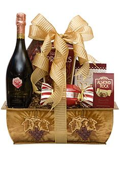 Good As Gold #giftbasket A bottle of Bottega Petalo Sparkling Wine and a variety of chocolate cookies and snacks $135.00 #gifts #wine #1877spirits  sc 1 st  Pinterest & Lunetta Prosecco Gift Basket: A metal container filled with a bottle ...