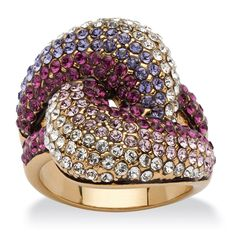 Palm Beach Jewelry PalmBeach Shades of Purple Crystal Knot Cocktail Ring Made With Swarovski Elements in Gold Ion-Plated Bold Fashion