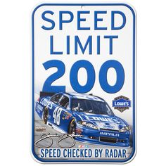 """Jimmie Johnson #48 Lowes 11"""" x 17"""" Speed Limit Sign"""