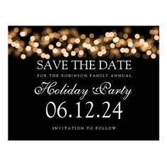 #Holiday Party Save The Date Gold Bokeh Lights Postcard - #Xmas #ChristmasEve Christmas Eve #Christmas #merry #xmas #family #holy #kids #gifts #holidays #Santa