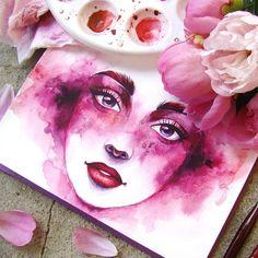 Акварельно-пионовое лето)) _ #watercolorpainting #portrait #fantasy #color #summer #pink #fashion #beauty #girl #flower #peony #illustration #passion #waterblog #watercolor #art #aquarell #акварель #иллюстрация