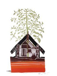 woodblock print edition of 75 35 x 28 cm available Nz Art, Maori Art, Linocut Prints, Printmaking, Photo Art, Illustration Art, Print Paper, Mural Ideas, Level 3