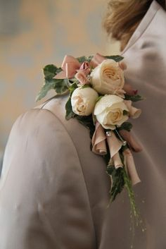 Corsage of Rolled Quicksand & Amnesia Rose Petals and Bombastic Rose Buds