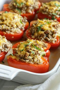 Delicious peppers stuffed with ground turkey and brown rice, seasoned with cumin, cilantro and spices then baked and topped with cheese are one of my favorites! - substitute quinoa for brown rice Ww Recipes, Chicken Recipes, Dinner Recipes, Cooking Recipes, Healthy Recipes, Healthy Meals, Skinnytaste Recipes, Healthy Tacos, Cooking Games