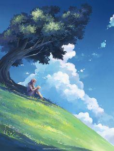 under a tree, upon a hill by megatruh on @DeviantArt