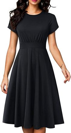 Check this HOMEYEE Women's Short Sleeve Floral Casual Aline Midi Dres Style: Elegant Floral Casual Midi Dress. Features:Crew Neck,Short Sleeve,Floral,A zipper at Back. Dress Outfits, Casual Dresses, Fashion Dresses, Fit N Flare Dress, Vintage Dresses, Beautiful Dresses, Kids Fashion, Short Sleeve Dresses, Shorts