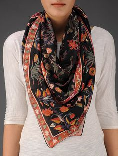 Buy Black Multi Color Cotton Floral Printed Scarf Accessories Scarves & Stoles Wild Flower Song Print Online at Jaypore.com