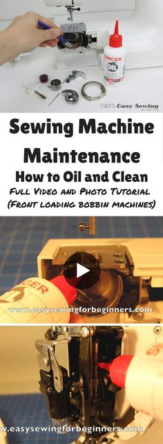 Sewing Machine Maintenance How to Oil and Clean Video Tutorial (Front Loading Bobbin) - Easy Sewing For Beginners - Sewing Machine Maintenance How to Oil and Clean video tutorial for front loading bobbin sewing mach - Sewing Hacks, Sewing Tutorials, Sewing Tips, Tutorial Sewing, Sewing Ideas, Sewing Basics, Sewing Machine Repair, Sewing Machine Service, Couture Vintage