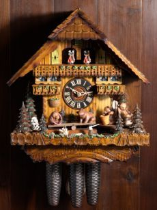 bears on seesaw cuckoo clock