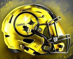 New Nfl Helmets, Cool Football Helmets, Steelers Helmet, Pitsburgh Steelers, Football Uniforms, Football Gear, Steelers Stuff, Football Memes, Denver Broncos