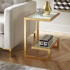 Mercer41 Thaxted End Table Finish: Golden Glass