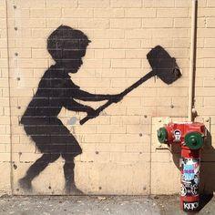 Break today open #tbt #banksy #sledgehammer #streetart #nycstreets #nycart #catchnyc #catchdubai #catchplaya #catchla