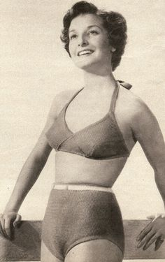 Vintage 50s Bikini Top & Shorts Knitting Pattern