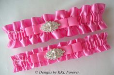 Hot Pink Wedding Garter from Etsy