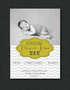 Customizable Chevron Scripture/Quote Photo Birth Announcement-Printable-Baby Boy or Baby Girl. $15.00, via Etsy.