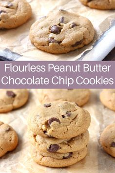 These Flourless Peanut Butter Chocolate Chip Cookies are rich, chocolaty, and only take 30 minutes from start to finish! #cookies #flourlescookies #peanutbutter