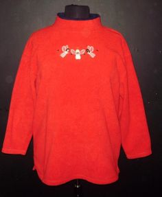 Womens plus size Christmas Angels red fleece shirt-2X/3X-Embroidered angels #notag #Blouse #Casual