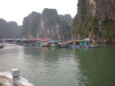 Floating village Halong bay Vietnam