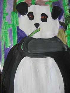 This artist is not quite 5 years old Beautiful Charlie! Here are some of the wonderful pandas from my graders. Bear Art, 5 Year Olds, Panda Bear, 5 Years, Artist, Anime, Painting, Beautiful, Pandas