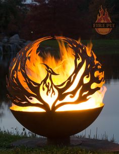 """ Phoenix Rising"" 37"" Fire Pit Sphere by artist Melissa Crisp of The Fire Pit Gallery"