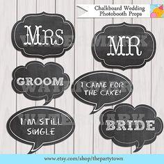 chalkboard photo booth background | Chalkboard Wedding Photobooth Props / Chalkboard Signs / photo booth ...