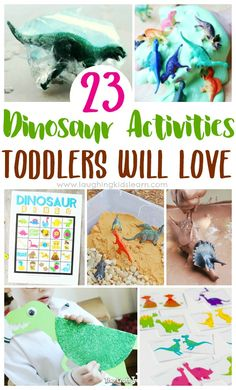 23 dinosaur activities toddlers will love by laughing kids learn. Lots of fun for children of all ages too. Dinosaur slime and Dinosaur Play, Dinosaur Activities, Dinosaur Crafts, Fun Activities For Kids, Sensory Activities, Infant Activities, Preschool Activities, Preschool Curriculum, Homeschool