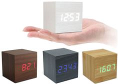 New Cube Wood LED Wooden Clock Digital Alarm Thermometer Vioce&Touch Activated   eBay