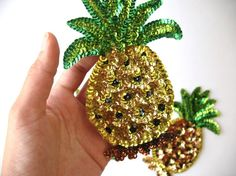 sequin patches set of two pineapples