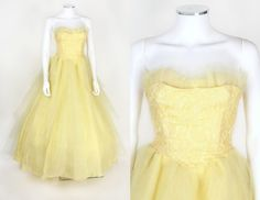 VTG 1950's YELLOW TULLE LACE STRAPLESS SKIRT BALL GOWN EVENING PARTY DRESS SZ XS