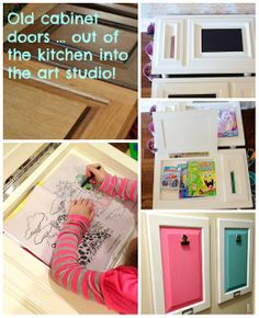 Repurpose: Back to the Drawing Doors! Use old cabinet doors to create art stations and display spaces for your kids