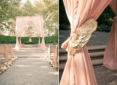 spray paint a ton of leaves gold and glue them together to frame the #wedding aisle {gorgeous idea}