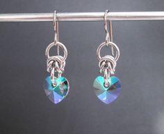 Chainmaille Earrings Swarovski Crystal Heart by BlackCatLinks