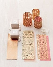 "See the ""Paper Punch Votive Covers"" in our DIY Votive Candle Crafts gallery Martha Stewart Punches, Papier Diy, Do It Yourself Inspiration, Candle Craft, Craft Punches, Paper Crafts, Diy Crafts, Paper Punch, Votive Candles"