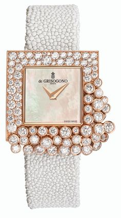 Sugar watch in pink gold with diamonds DE GRISOGONO £ 67,500 Inspired by a sugar cube, the square-shaped case is set with scintillating rows of gemstones that tumble over the sides and tremble gently with every movement of the wrist for a pretty shimmering effect.
