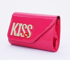 Tas clutch KISS diamond cantik, tali rantai panjang. Warna hot pink. Uk 27x16