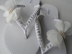 Bridal White Flip Flops / Chiffon Bow Rinestone wedding Flip