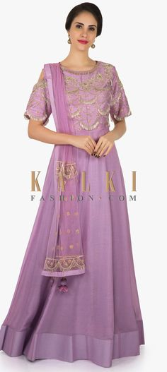 30183785424 Light purple cotton anarkali gown heavily embellished in silver embroidery  only on Kalki