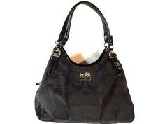 Coach 18762 Madison Maggie Signature Purse Black Satchel Hand Bag Canvas Leather #Coach #ShoulderBag
