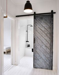 Random Inspiration 251 - UltraLinx                                                                                                                                                     More White Bathroom, Bathroom Barn Door, Loft Bathroom, Master Bathroom, Master Closet, Shed Bathroom Ideas, Bathroom Hacks, Bathroom Styling, Nature Bathroom