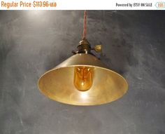 ON SALE Industrial Lighting  Brass Cone Pendant Lamp  by DWVintage