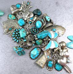 357g Bernard Dawahoya Hopi Charm Navajo & Zuni Charm SNAKES Turquoise Bracelet