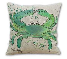"Amazon.com: Wonder4 Square Throw Pillow Case, Watercolor Decorative Sofa Cushion Cover for Living Room Watercolor Blue Crab 18 x 18"" Cotton Linen: Home & Kitchen"
