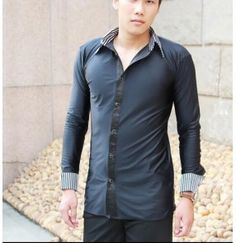 2e9eca36b Black and white striped collar and cuffs blacked colored mens men's mans male  long sleeves turn