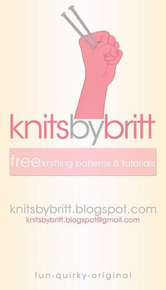 Knits by Britt - fun and free knitting patterns and tutorials - http://www.knitsbybritt.com/
