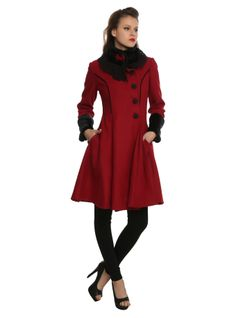 High quality burgundy poly blend fabriccoat, fully lined in black satin effect polyester, with front & back box pleats and button-over front, fastening to one side with ornate, detailed oversize buttons and faux-fur trim cuffs and high collar. Pin Up Style, My Style, Rock T Shirts, Wrap Sweater, Mermaid Dresses, High Collar, Lady In Red, Celebrity Style, Winter Fashion
