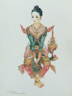 """A Kinnari dancer waiting for the performance"", 1991, watercolor on paper, by a Thai national artist Chakrabhand Posayakrit"