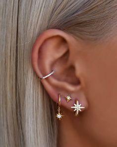 Pretty Ear Piercings, Ear Peircings, Cartilage Piercings, Ear Cuff Piercing, Different Ear Piercings, Ear Jewelry, Cute Jewelry, Jewlery, Ear Cuffs