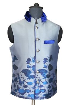 Floral Print Blue Jacket with stylish velvet collar.
