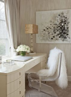 Home Office. The neutral colour palette provides a calm work environment, and lots of texture adds interest